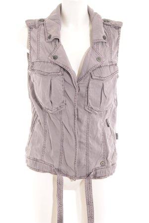 Khujo Vintage Gilet en jean mauve style rétro