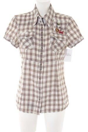 Khujo Vintage Shirt met korte mouwen geruite print casual uitstraling