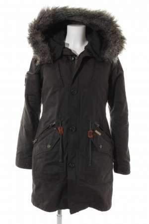 Khujo Vintage Winter Coat dark brown-dark grey Lather elements
