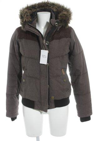 Khujo Veste d'hiver gris brun motif à carreaux style décontracté