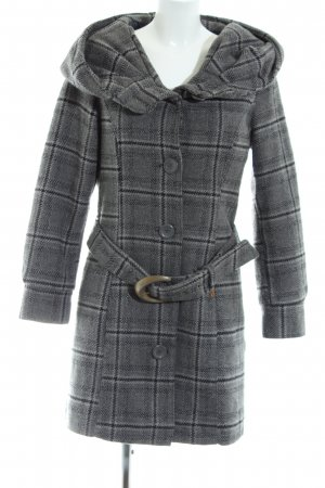 Khujo Winter Coat light grey check pattern casual look