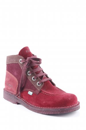 Kickers Chaussures à lacets rouge foncé-bordeau style simple