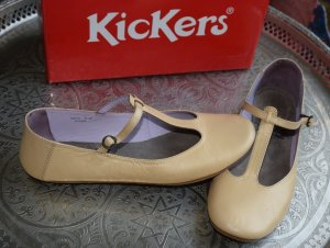 Kickers Mary Jane Ballerinas dark yellow leather