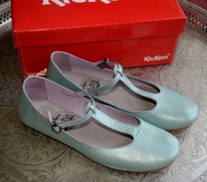 Kickers Mary Jane Ballerinas pale blue leather