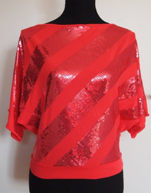 Killah Mallow Party-Shirt Top mit Pailletten Streifen koralle / rot Gr. S / 36