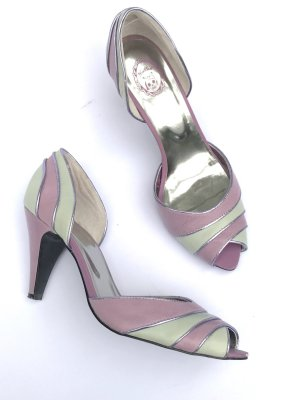 Killah Miss Sixty Peeptoes Pumps Heels Lila grau Retro Blogger Vintage Style Gr 39