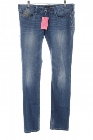 Killah Slim Jeans blau-blassgelb Schriftzug gestickt Casual-Look