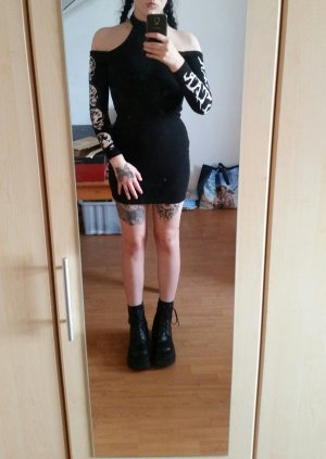 Killstar Luna Morte Bodycon Dress Skull Figurbetont Schulterfrei Gothic Punk
