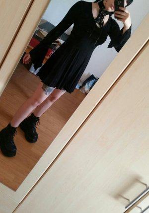 Killstar Spyda Lace Me Up Dress Schnürung Trompetenärmel Gothic