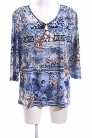 Kim & Co Langarm-Bluse Allover-Druck Casual-Look