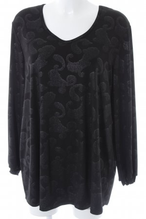 Kim & Co Long Shirt black-silver-colored paisley pattern casual look