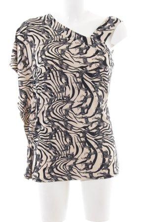 Kim & Co One Shoulder Top cream-black allover print elegant