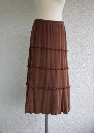 Kim & Co Falda gitana marrón-coñac tejido mezclado
