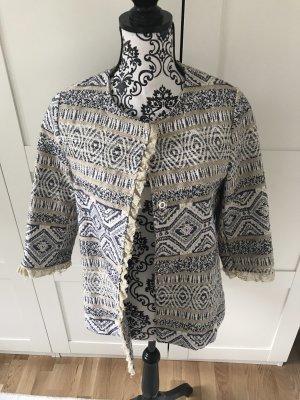Tweed Blazer cream-dark blue