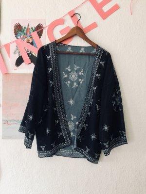 Kimono blouse wit-donkerblauw