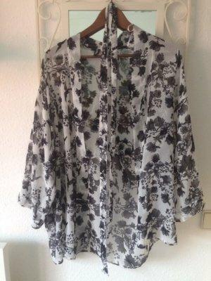Kimono Blumen schwarz/weiß