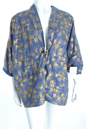Blusa tipo kimono color oro-azul estampado con diseño abstracto