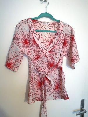 H&M Chemisier kimono blanc-rouge