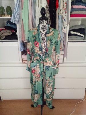 Kimono Cardigan Grün Blogger Festival Seide Hippie S M 36 38
