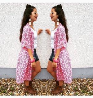 Kimono Cardigan Kleid pink weiß S blogger hipster