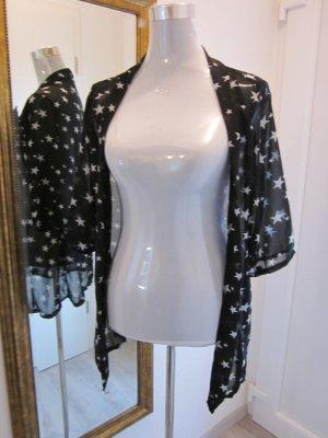 Kimono Cardigan  schwarz weiss mit Sternen Gr S/M Neu