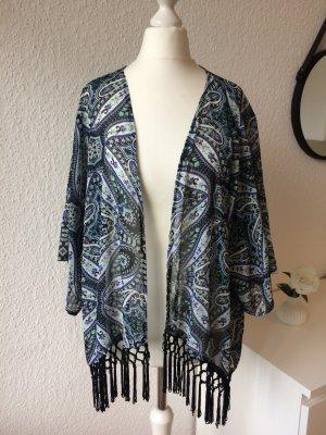 Kimono | Fransen | Leicht transparent | Strandkleidung | Paisley