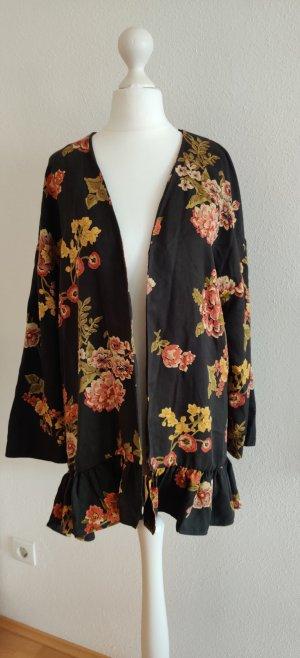 Kimono Jacke Blazer Zara Mantel Outerwear Blumen print  XS-S