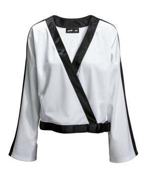 H&M Wraparound Jacket white-black