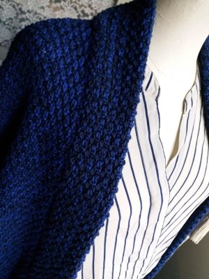 Closed Coarse Knitted Jacket dark blue-blue cotton