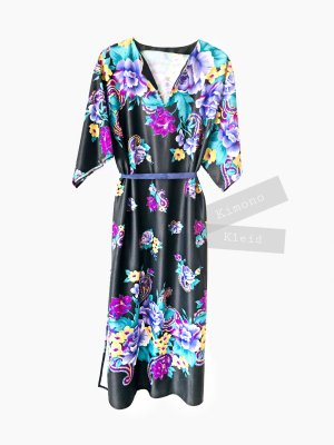 Kimono Kleid Blumen Flieder lila Rosen schwarz asiatisch onesize Maxi | Vintage | 40-44