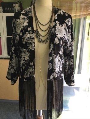 Kimono leichter cardigan Festival geblümt Blumen schwarz weiß mit Fransen