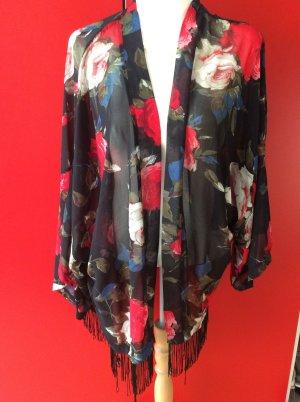 Kimono mit Bluetendruck aus Chiffon, Groesse 56, passt 52