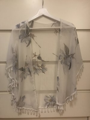 Blusa tipo kimono blanco-azul aciano
