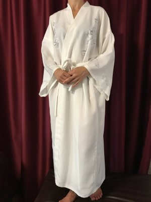 Kimono Morgenmantel 34, 36, XS, S weiß Creme Drache Top