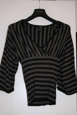 H&M Jersey con cuello de pico negro-gris