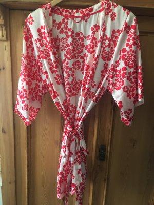 Kimono, rot-weiß mit Blumenmuster, Gr.38