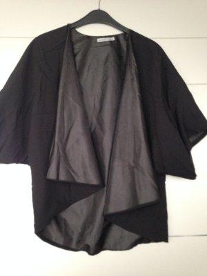 Kimono schwarz Materialmix Glanz/Matt Gr. M