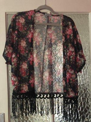 Kimono überzieh jacke weste rosen