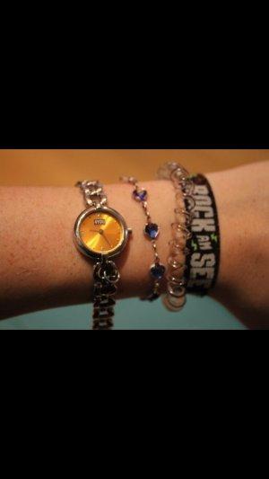Orologio argento-arancione chiaro