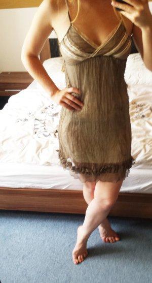 King Kong hochwertiges Kleid khaki/beige mit Seide und Spitze