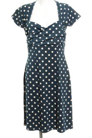 King louie A-Linien Kleid petrol-hellbeige Allover-Druck 60ies-Stil