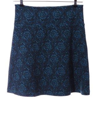 King louie Flared Skirt blue-black flower pattern casual look