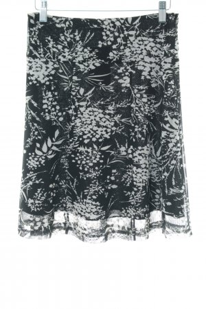 King louie Circle Skirt black-white allover print business style