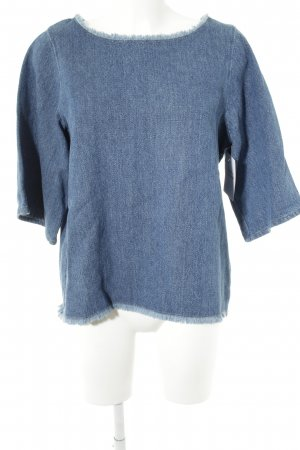 Kings of Indigo Jeans blouse staalblauw casual uitstraling
