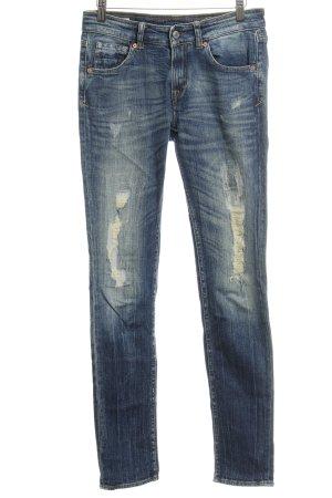 Kings of Indigo Skinny Jeans dunkelblau Destroy-Optik