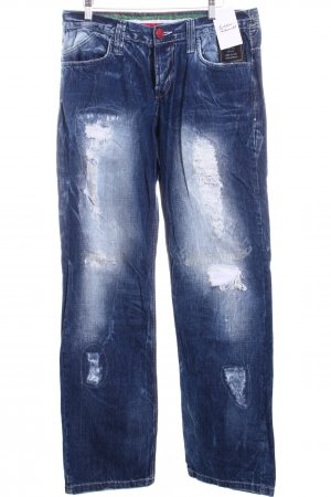 Kingz Jeans Jeans blau-wollweiß Used-Optik