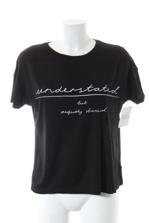 Kiomi Cropped Top schwarz-weiß Schriftzug gedruckt Street-Fashion-Look