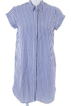 Kiomi Robe chemise bleu acier-blanc motif rayé style décontracté