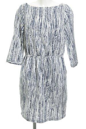 Kiomi Langarmkleid weiß-dunkelblau abstraktes Muster Elegant