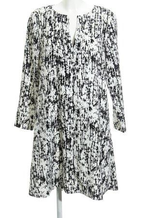 Kiomi Langarmkleid weiß-schwarz abstraktes Muster Casual-Look